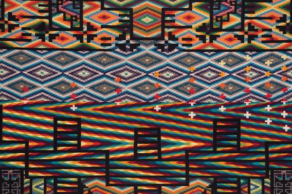 Melissa Cody, Dopamine Regression (detail), 2010. 3-ply wool, aniline dyes, wool warp, and 6-ply selvedge cords; 70 x 48 inches (177.8 x 124.1 cm). Private collection. Photo courtesy of Edward Robison III.