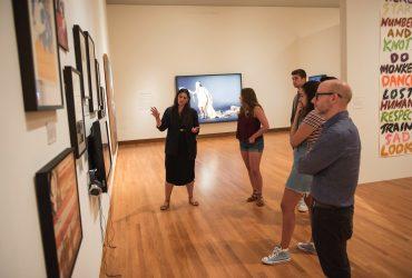 Candice Hopkins leads a tour for Duke University students
