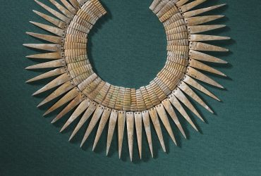 Nazca (Peru), Collar, 200–600 CE. Shell, 15 x 18 inches (38.1 x 45.7 cm). Collection of the Nasher Museum of Art at Duke University. Gift of Mr. and Mrs. Charles Dukes, 1973.78.1. Photo by Peter Paul Geoffrion.