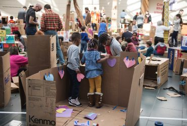The Nasher Museum's Great Hall is transformed into a Cardboard City during the Nasher's Free Family Day on Sunday, Jan. 26th. During the event, visitors created structures out of cardboard shipping boxes, tape, construction paper, and markers. The event also featured live performances by the nationally recognized traveling theatrical group Bright Star Touring Theatre who performed a program of African folktales in the Lecture Hall. Photo by J Caldwell