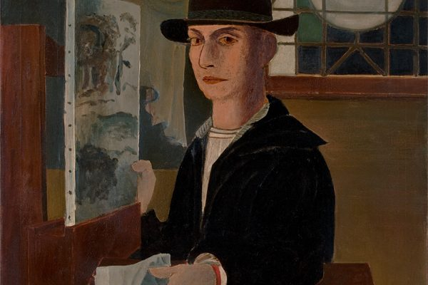 Roy Lichtenstein, Self-Portrait at an Easel, c. 1951–1952. Oil on canvas, 34 1/16 x 30 1/8 inches (86.5 x 76.5 cm). Private collection. © Estate of Roy Lichtenstein.