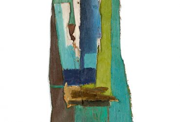 Roy Lichtenstein, Untitled, c. 1955. Painted canvas, painted scrap wood, wood battens, bolts, screws, string; 26 3/4 x 13 9/16 x 3 13/16 inches (67.9 x 34.4 x 9.7 cm). Private Collection. © Estate of Roy Lichtenstein.