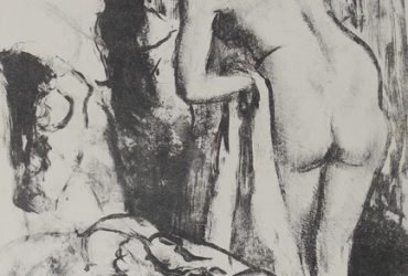 Edgar Degas, Femme nue debout a sa toilette (Nude Woman Standing, Drying Herself), c. 1891–1892. Lithograph on wove paper, 13 x 9 5/8 inches (33 x 24.4 cm). Collection of the Nasher Museum of Art at Duke University. Bequest of Nancy Hanks.