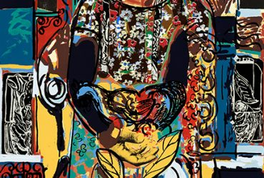David C. Driskell, Woman in Interior, 2008. Screenprint with mixed media on paper, edition 22/75, 37 1 ⁄4 x 25 1 ⁄4 inches (94.6 x 64.1 cm). Collection of the Nasher Museum of Art at Duke University. Gift of Franklin and Sheila Jackson, 2008.12.1. © David C. Driskell. Courtesy of DC Moore Gallery, New York. Photo by Peter Paul Geoffrion.