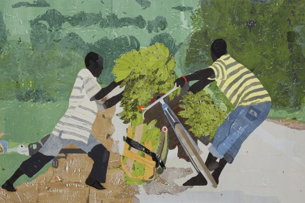 Hugo McCloud, push pull, 2019. Plastic merchandise bags on wood panel, 55 x 85 inches (139.7 x 215.9 cm). Collection of the Nasher Museum of Art at Duke University. Gift of Nancy A. Nasher (J.D.'79, P'18, P'22) and David J. Haemisegger (P'18, P'22), 2020.3.1. © Hugo McCloud. Image courtesy of the artist and Sean Kelly Gallery, New York.