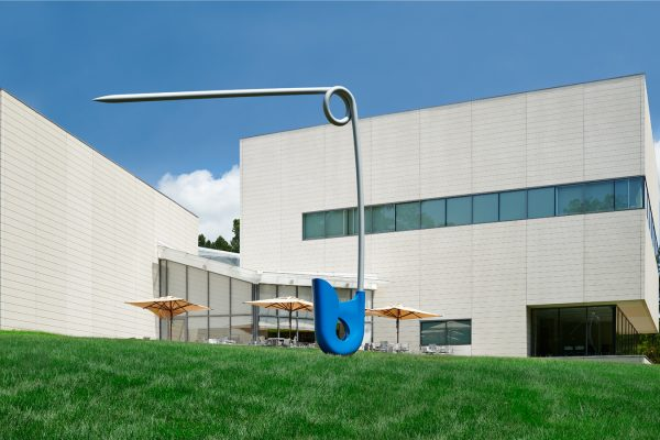 "Claes Oldenburg and Coosje van Bruggen, Corridor Pin, Blue, 1999. Stainless steel, aluminum, and polyurethane enamel; artist's proof 1/1, 255 × 256 × 16 inches (647.7 × 650.24 × 40.64 cm). Collection of Nancy A. Nasher (L'79, P'18, P'22) and David J. Haemisegger (P'18, P'22). © Claes Oldenburg and Coosje van Bruggen. Courtesy of Paula Cooper Gallery, New York. ""Transient"" by Ghostrifter Official is licensed under a Creative Commons License. Photo by Peter Paul Geoffrion."