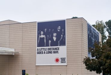 A RESIST COVID / TAKE 6! banner at the Nasher Museum. Courtesy of Carrie Mae Weems. Photo by Robert Zimmerman.