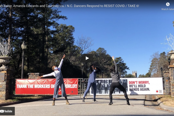 Photo of dancers Alyah Baker, Amanda Edwards and Courtney Liu at the entrance to Sarah P. Duke Gardens responding to RESIST COVID / TAKE 6! by artist Carrie Mae Weems. Photo by Myra Weise.