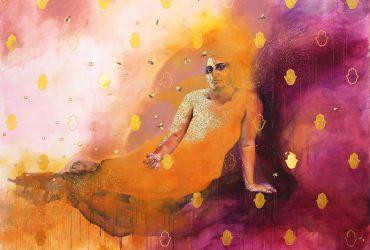Saba Taj, Miraj from the series there are gardens at the margins, 2021. Acrylic, oil, spray paint, gold leaf, thread, glitter, rhinestones, and shisha embroidery on canvas; 84 x 62 inches (213.4 x 157.5 cm). © Saba Taj. Image courtesy of the artist.