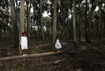 Allison Janae Hamilton, Sisters, Wakulla County FL, 2019. Archival pigment print, edition 2/5, 24 x 36 inches (61 x 91.4 cm). Collection of the Nasher Museum of Art at Duke University. Museum purchase with funds provided by The Durham (NC) Chapter of The Links, Incorporated; 2021.13.2. © Allison Janae Hamilton. Image courtesy of Marianne Boesky Gallery, New York.